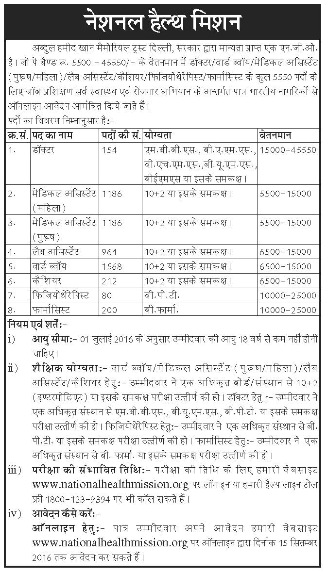 NRHM Delhi Recruitment 2016 Advertisement